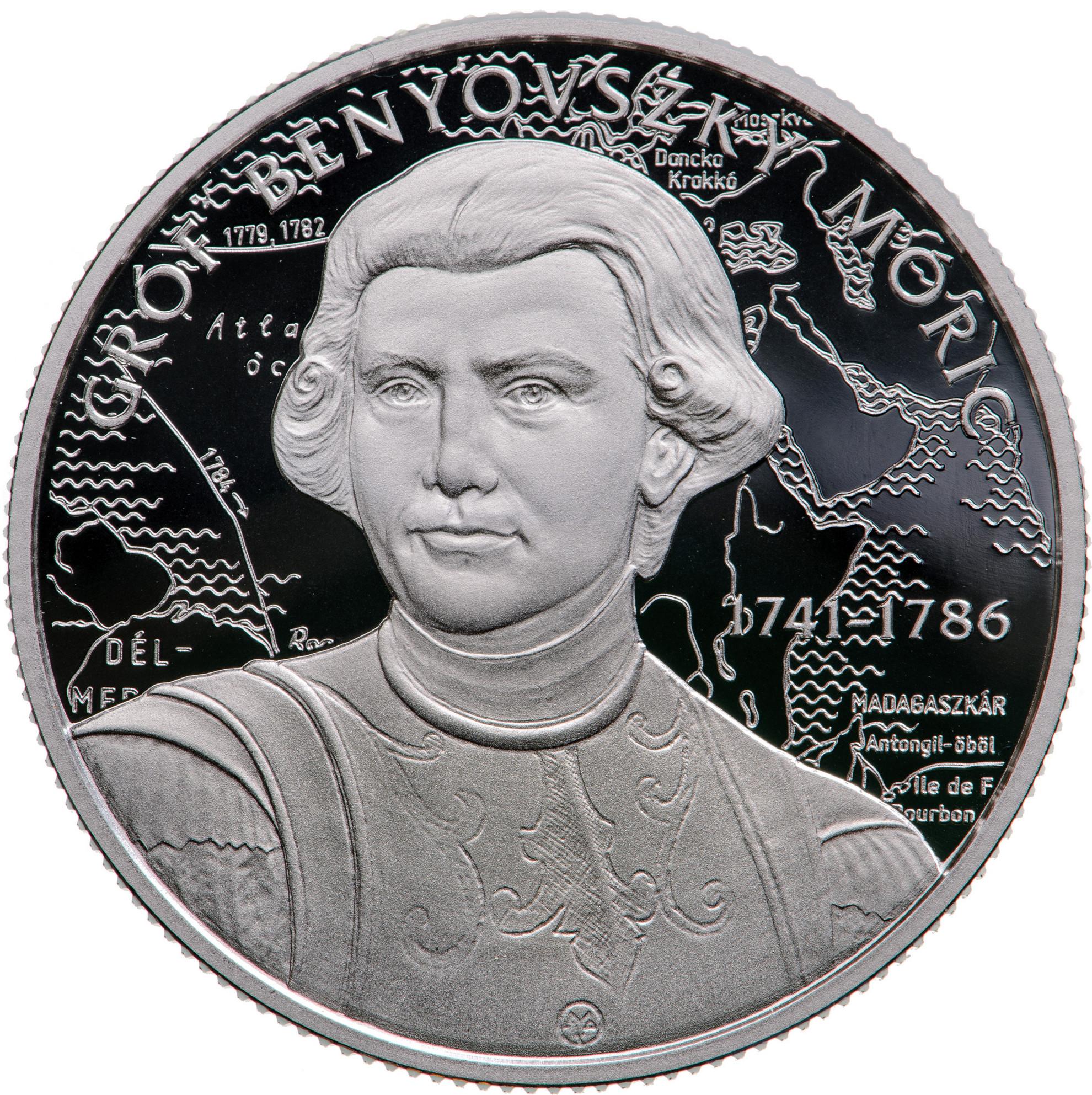 Az ezüst Benyovszky-emlékérme hátlapja