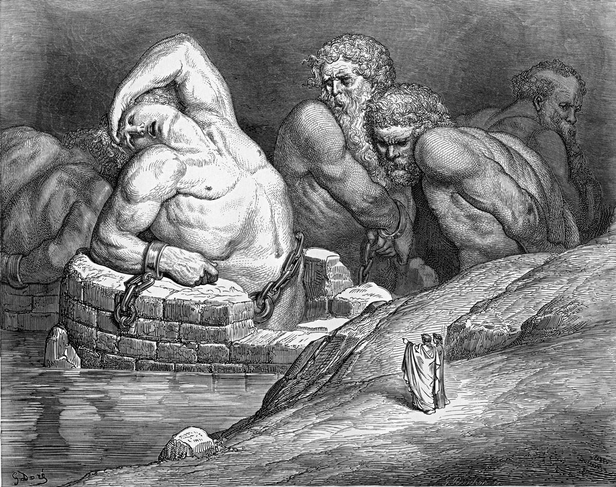 Titánok és gigászok leláncolva a pokolban (Gustave Doré illusztrációja).  Dante – mint ahogy Homérosz, az evangélisták, Shakespeare vagy Cervantes – nem egyszerűen egy irodalmi életművet hagyott hátra, hanem egy olyan világmagyarázatot, amely kijelöli az ember helyét az univerzumban