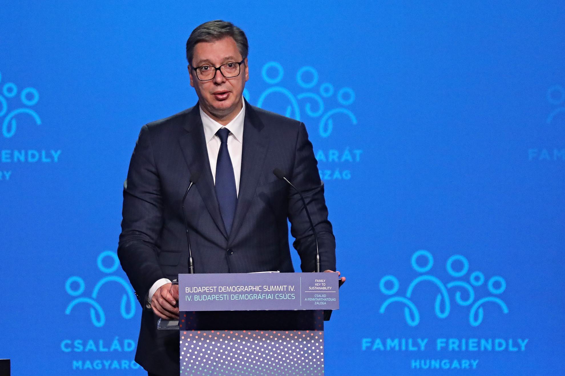 Aleksandar Vucic szerb elnök a IV. Budapesti Demográfiai Csúcson a Várkert Bazárban 2021. szeptember 23-án