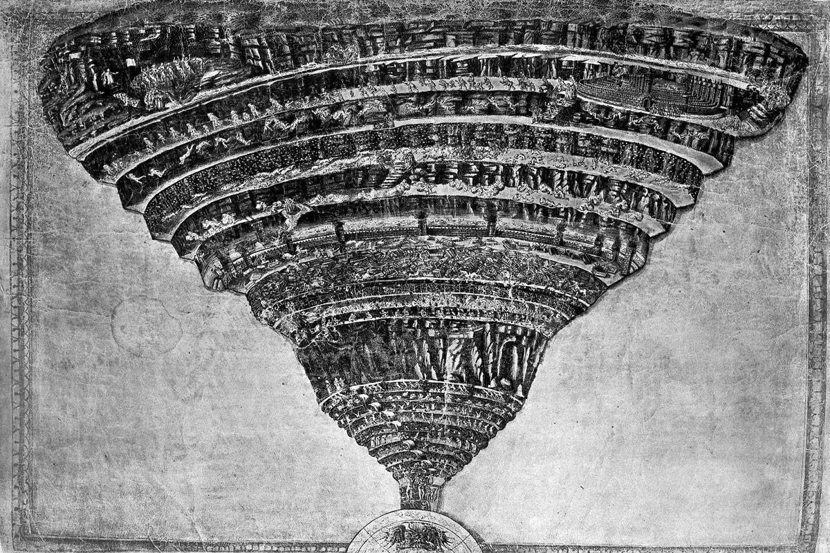 Sandro Botticelli színezett tollrajza, A pokol térképe, amelyet a művész aprólékos műgonddal, fémtűvel mintázott meg, és csak azután húzott ki tussal. A Dante Isteni színjátékához készült pergamenlapon a Pokol bugyrain át vándorló Dante és Vergilius alakja alig éri el a nyolc millimétert