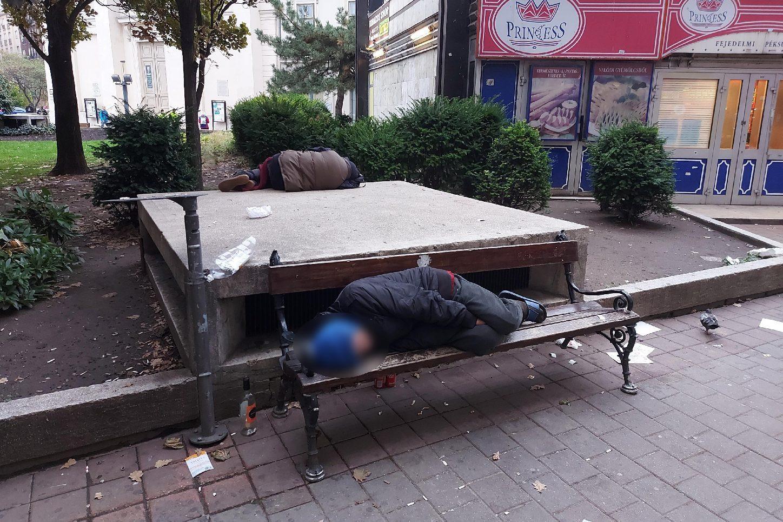 Hajléktalanok lepik el a padokat, és kis túlzással 0–24 órában itt tartózkodnak