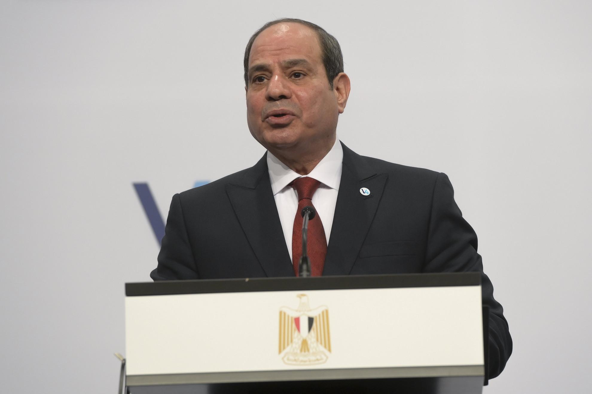 Abdel-Fattáh esz-Szíszi egyiptomi elnök a V4-Egyiptom csúcstalálkozó utáni sajtónyilatkozaton, a Várkert Bazárban